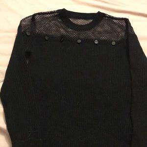 Black mesh top w/ buttons